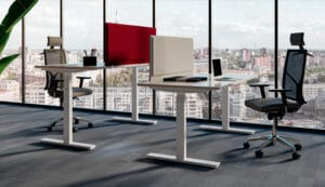 Aménagement espaces de travail, flex-office ou en télétravail, bureaux actifs, électriques, assis-debout - Bloom Inside Lyon