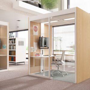 Aménagement de cabine acoustique dans des espaces de travail en flex-office ou coworking - Bloom Inside Lyon